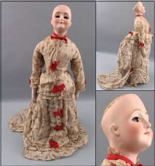 Antique J.  D.  Kestner Gibson Girl 172 German Bisque Head Doll W/ Bustle Dress