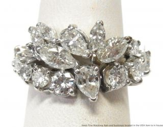 4ctw Round Pear Marquise Diamond Platinum Ring Fancy Vintage Eternity Adjustable