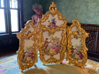 Antique Miniature Dollhouse Viennese Hand Painted Enamel Bronze Ormolu Screen