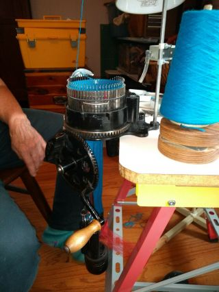Antique Auto Knitter sock machine with 2 cylinders & ribbers,  extra needles 2