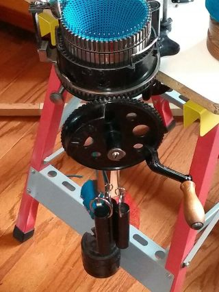 Antique Auto Knitter sock machine with 2 cylinders & ribbers,  extra needles 5