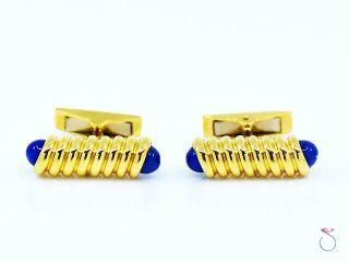 S.  T.  Dupont 18k Yellow Gold & Lapis Lazuli Cufflinks.  12.  80 Grams