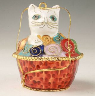 Precious Chinese Cloisonne Enamel Hand - Made Mascot Carving Cat Statue Pendant