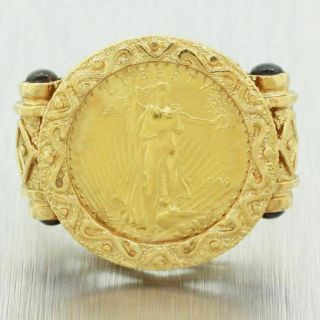 Vintage Estate 14k Solid Yellow Gold Red Stone 1999 American Eagle Coin Ring