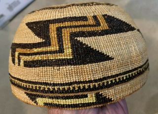 """Vintage Or Antique Hupa Or Yokuts Baketry Hat.  Perfect.  7x4 """""""