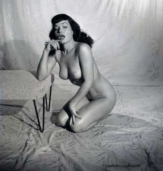Bettie Page 1954 Camera Negative Photograph Bunny Yeager Pin - Up Pose Nude Rare