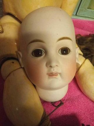 Antique Bisque Doll Early Kestner ? Marked 15 Pouty Mouth To Restore
