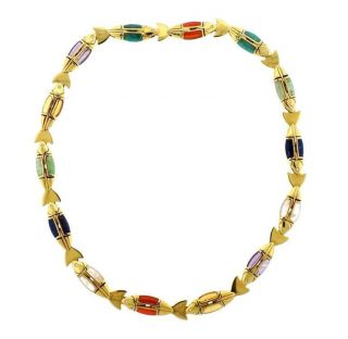 Cleto Munari 18k Gold Gemstone Diamond Fish Necklace