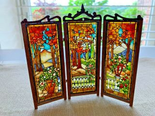Artisan Miniature Dollhouse Real Artisan Stained Glass Wood Folding Screen Uk
