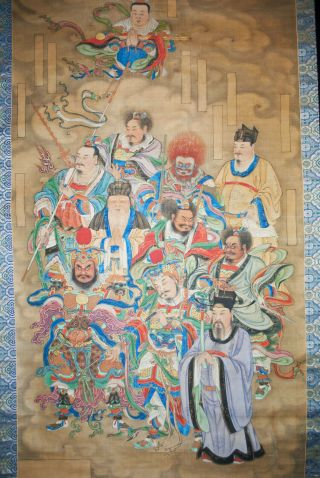 Antique Chinese Hanging Scroll Painting Watercolor - Immortals Gods 19th Century