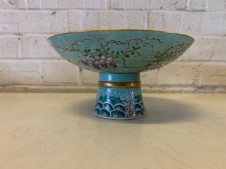 Antique Chinese DA YA ZHAI Porcelain Compote with Grape & Floral Dec.  Marked 4