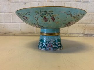 Antique Chinese DA YA ZHAI Porcelain Compote with Grape & Floral Dec.  Marked 5