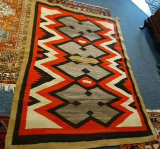 Antique 1910 - 20s? Native American Navajo Indian Rug Hand Made Design Colors