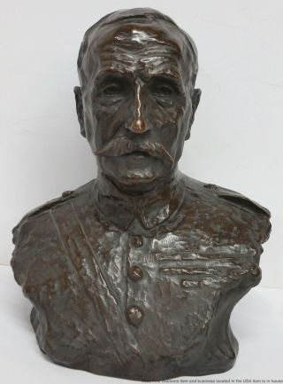 Antique 1918 Jo Davidson Bronze Bust Marshal Ferdinand Foch Sculpture