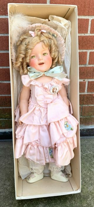 "Vintage Orig.  Ideal Shirley Temple Compo Doll In Little Colonel Dress 22 "" W/box"