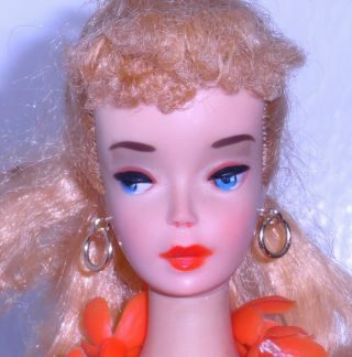Stunning Vintage 1960 3 Blonde Ponytail Barbie 850 W/ Hawaiian Outfit Japan