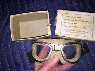 Vintage Rare Wwii Flying Goggle,  Amer.  Optical Co. ,  Box,  Authentic