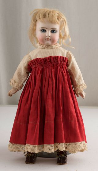 Lovely Antique Belton Type Bisque Head Doll Fixed Blue Swirl Eyes Jointed Body