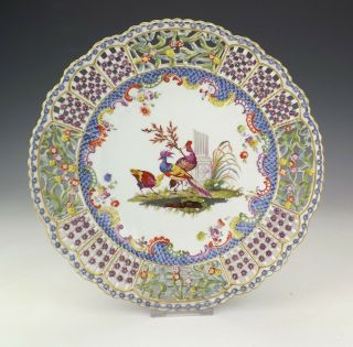 Antique Meissen Dresden Porcelain Hand Painted Exotic Birds Pierced Plate