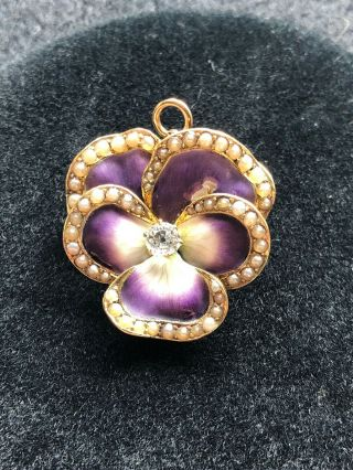Antique 14k Gold Pin / Enamel Pansy With Diamond And Pearls