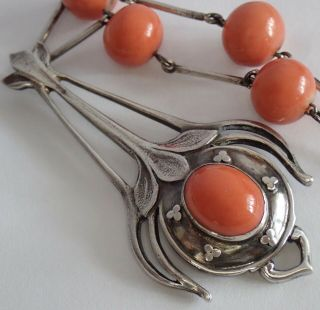Antique Arts & Crafts Sterling Silver Natural Salmon Pink Coral Pendant Necklace