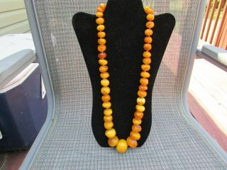 Large Antique Natural Baltic Amber Bead Necklace Estate Fresh 179 Grams