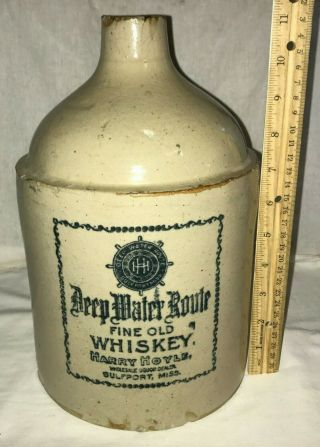 Antique Deep Water Route Whiskey Gulfport Mississippi Ms Stoneware Jug Liquor