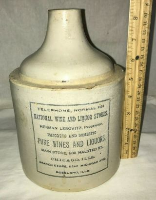 Antique Red Wing Stoneware Rwsco 1/2gal Chicago & Roseland Il Jug Wine Liquor