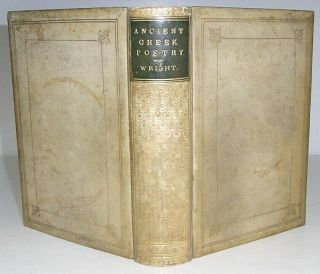 1867 Ancient Greek Poetry Full Vellum Binding Manuscript Annotations To Text M.  S