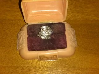 Art Deco Style Diamond Dinner Ring In Heavy Platinum Setting