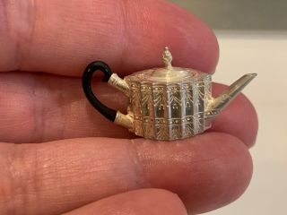 Miniature Dollhouse Artisan Obidiah Fisher Rare Sterling Coffee Pot Footed Tray