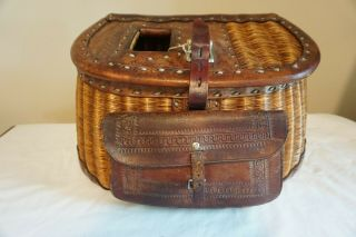 Macmonies Buck Stitched Split Willow Creel W/ Large Front Pocket Marked 60 And 5