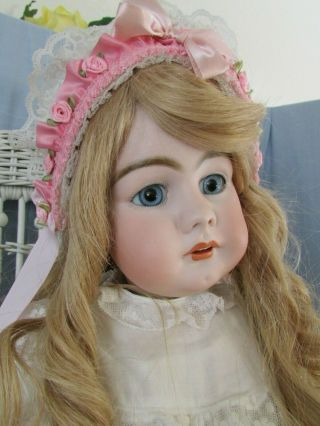 "Ant German 949 S&h Early Doll - 32 "" Deep Paperweight Eyes Hh Wig Head Great"