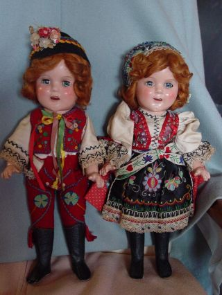 Ideal Vintage Composition Ideal Ginger Shirley Temple Doll Pair Rare Costume