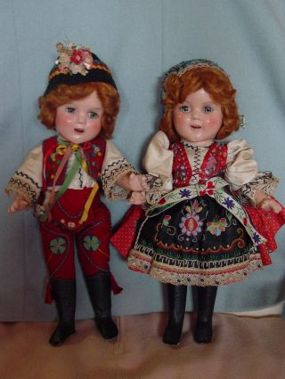 IDEAL VINTAGE COMPOSITION IDEAL GINGER SHIRLEY TEMPLE DOLL PAIR RARE COSTUME 5