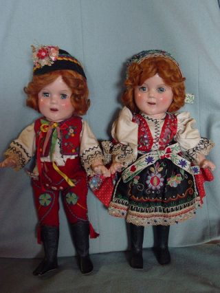 IDEAL VINTAGE COMPOSITION IDEAL GINGER SHIRLEY TEMPLE DOLL PAIR RARE COSTUME 6