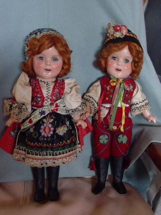 IDEAL VINTAGE COMPOSITION IDEAL GINGER SHIRLEY TEMPLE DOLL PAIR RARE COSTUME 7