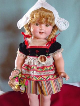 IDEAL VINTAGE COMPOSITION IDEAL GINGER SHIRLEY TEMPLE DOLL PAIR RARE COSTUME 9