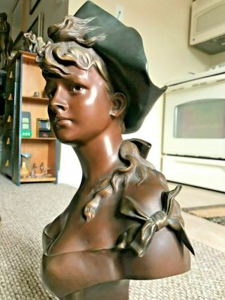 "Antique 19th Century Anton Nelson Patinated Bronze Sculpture - 20 "" - H.  Luppens"