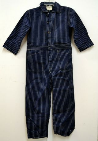 Vtg Stifel Wabash Stripe Boot Stamp Fabric Railroad Coverall Playsuit Deadstock