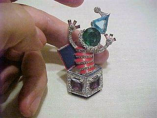 "Awesome 1940 Trifari Enameled "" Jack In The Box "" Multi Colored Rhinestone Clip"
