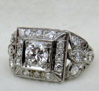 Antique Art Deco Platinum.  65 Ct.  Old European Cut Vs2 Diamond Engagement Ring