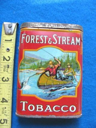 """Vintage,  Rare,  Forest,  Stream """"fly - Fishing"""" Pocket Tobacco Tin"""
