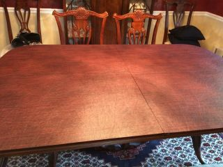 Antique dining room with 2 extender leaves,  set 8 chairs and table protector top 3