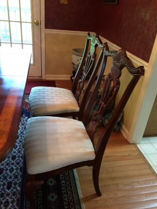 Antique dining room with 2 extender leaves,  set 8 chairs and table protector top 8