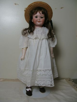 "19 "" Antique Bisque Head - - Kid Body - - German Character Doll - - Baby Peggy"