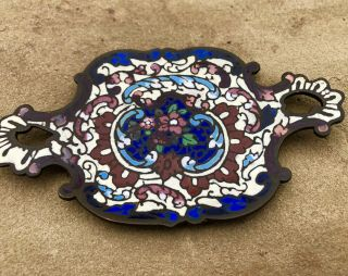 Gorgeous 1800's Victorian French Champleve Cloisonné Enamel Bronze Tray Dish
