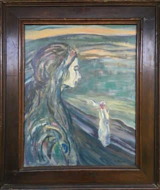 E.  Munch Signed Antique Oil / Canvas Painting French?