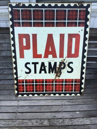 Vintage Plaid Stamps Double Sided Enamel Tin Sign Display Gas Oil 1960s
