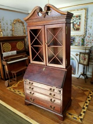 Antique Vintage Dollhouse Miniature Artisan Secretary Desk Cabinet 1:12